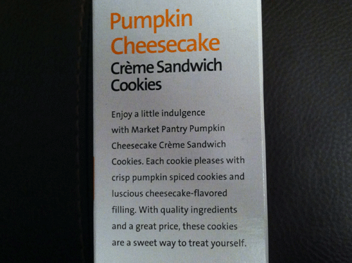 Market Pantry Pumpkin Cheesecake Creme Sandwich Cookies