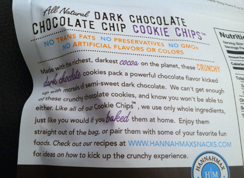 Hannah Max Dark Chocolate Chocolate Chip Cookie Chips