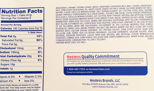 Vanilla Zinger Cake Snack Nutrition Facts