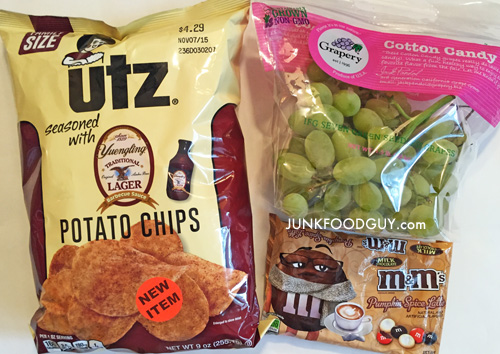 Pumpkin Spice Latte M&Ms, Limited Edition UTZ Yuengling Barbecue Potato Chips, Grapery Cotton Candy Grapes: The Money Shot